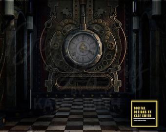 Steampunk Clock Works Digital Backdrop / Background, High Resolution, Instant Download, CUOK Buy 3 get 1 free.