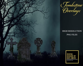Tombstone Overlays, Separate PNG Files, High Resolution, Instant Download, Buy 3 get 1 free, CUOK.