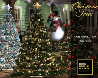 14 Christmas Tree Overlays plus bonus presents, Separate PNG Files, High Resolution, Instant Download.