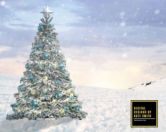 Magical Christmas Digital Backdrop / Background, 2 Versions, High Resolution 300ppi, Instant Download.