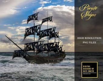 Pirate Ship Overlays, Separate PNG Files, High Resolution, Instant Download, Buy 3 get 1 free, CUOK.