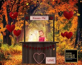Autumn Kisses Digital Backdrop / Background, High Resolution, Instant Download, Buy 3 get 1 free.