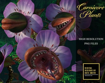 Carnivore Plants Overlays, Separate PNG Files, High Resolution, Instant Download, Buy 3 get 1 free, CUOK.