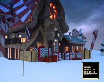 Santas Workshop Digital Backdrop / Background, High Resolution, Instant Download. Buy 3 get 1 free.