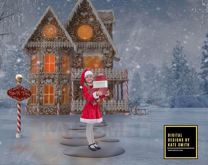 North Pole Santa's Workshop Digital Backdrop / Background, High Resolution, Instant Download, Buy 3 get 1 free, CUOK.