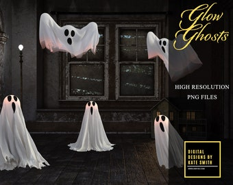Glow Ghosts Overlays, Separate PNG Files, High Resolution, Instant Download, CUOK, Buy 3 get 1 free.