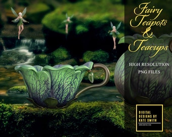 Fairy Teapots & Teacup Overlays, Separate PNG Files, High Resolution, Instant Download. CUOK