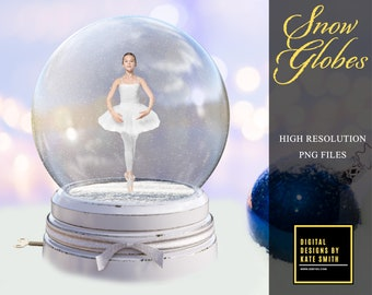 Beautiful Snow Globe Overlays, Separate PNG Files, High Resolution, Instant Download. Buy 3 get 1 free.