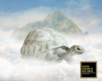 Buy 3 get one free. A Tortoise Ride Digital Backdrop / Background, High Resolution, Instant Download.