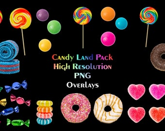 LARGE Candyland Overlay Pack, Assorted Candy Overlays, High Resolution PNG Files, Instant Download.