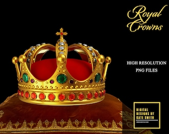 Crown Overlays, Separate PNG Files with Transparent Backing,  High Resolution Files, Instant Download.
