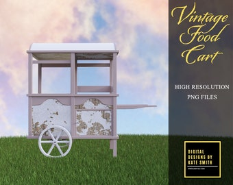 Vintage Food Cart Overlays, Separate Png Files, High Resolution, Instant Download, Buy 3 get 1 free, CUOK.