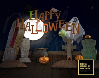 Funky Happy Halloween Digital Backdrop / Background, High Resolution, Instant Download, Buy 3 get 1 free, CUOK.