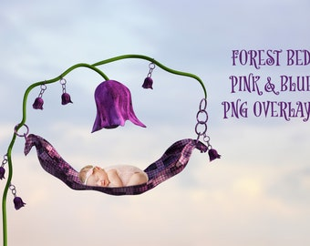 Forest Bed Overlays, Pink and Blue set, Separate PNG Files, High Resolution, Instant Download, Buy 3 get 1 free, CUOK.