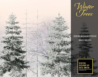 Winter Trees Overlays, Separate PNG Files, High Resolution, Instant Download, CUOK.