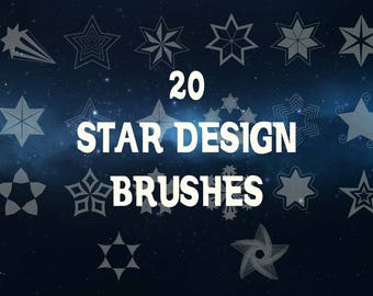 Buy 3 get one free. 20 Assorted Star Design Brushes, Instant Download.