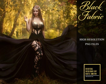 Black Flying Fabric Overlays, Separate PNG Files, High Resolution, Instant Download. Buy 3 get 1 free.
