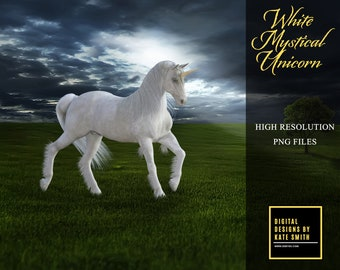 White Mystical Unicorn, Separate PNG Files, High Resolution, Instant Download. CUOK, Buy 3 get 1 free.