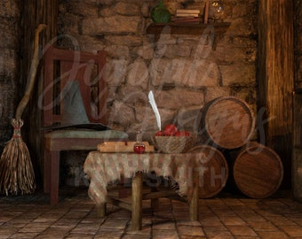 Witches Cabin Digital Backdrop / Background, High Resolution, Instant Download, Buy 3 get 1 free, CUOK.
