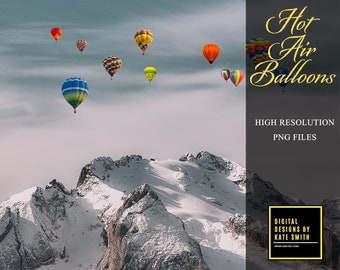 17 x Hot Air Balloon Overlays, Separate PNG Files, High Resolution, Instant Download, CUOK.