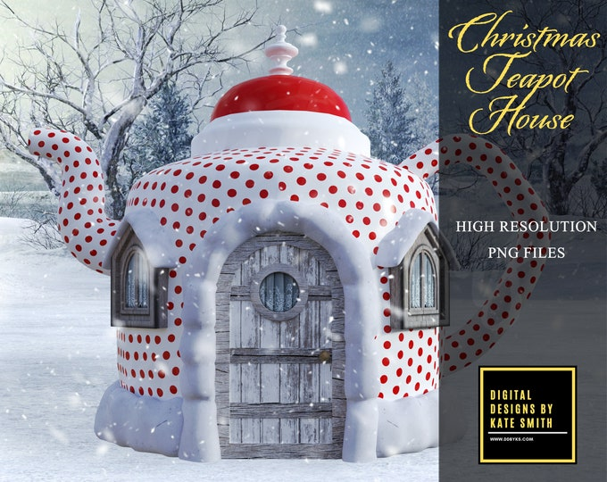Christmas Teapot House Overlay, Large Png File, High Resolution, Instant Download, CUOK, Buy 3 get 1 free.