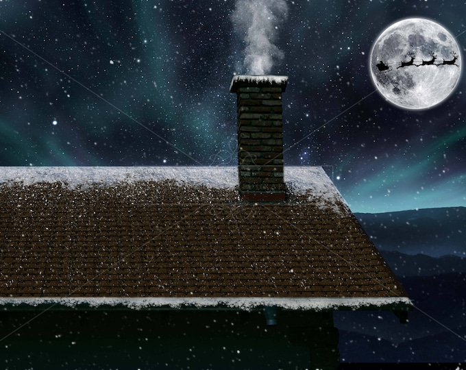 Buy 3 get one free. Christmas on the roof Digital Backdrp / Background, High Resolution, Instant Download.