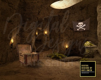 Pirate Cave Digital Backdrop / Background, High Resolution, Instant Download, Buy 3 get 1 free, CUOK.
