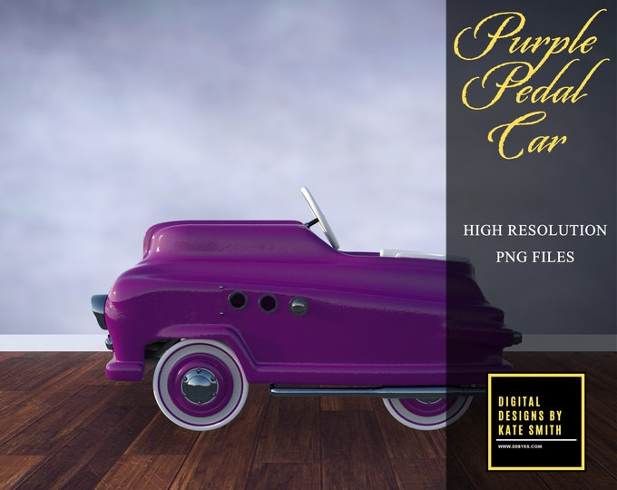 Purple Pedal Car Overlays, Separate PNG Files, High Resolution, Instant Download, CUOK, Buy 3 get 1 free.