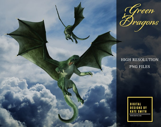 12 Green Dragon Overlays, Separate PNG Files, High Resolution, Instant Download, Buy 3 get 1 free, CUOK.