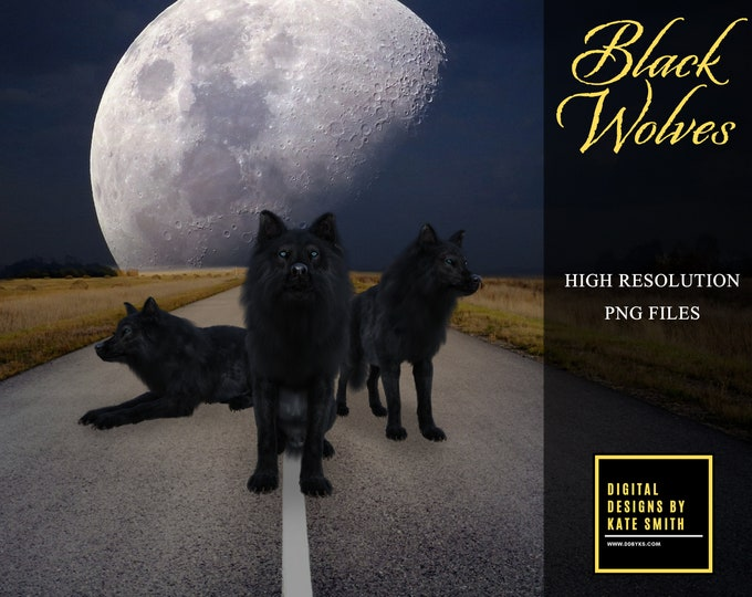 Black Wolf Overlays, Separate PNG Files, High Resolution, Instant Download, CUOK, Buy 3 get 1 free.