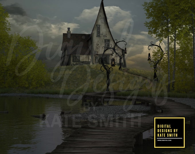 Witches Crossing Digital Backdrop / Background, High Resolution, Instant Download, Buy 3 get 1 free.