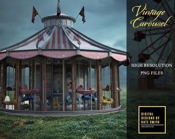 Large Vintage Carousel Overlay, High Resolution PNG File, Instant Download, CUOK, Buy 3 get 1 free.