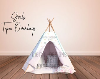 Girls Tepee Overlay, 2 Positions, Separate PNG Overlays, High Resolution, Instant Download. Buy 3 get 1 free.