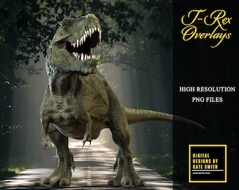 10 x T - REX Dinosaur Overlays, Separate PNG Files, High Resolution, Instant Download, CUOK.