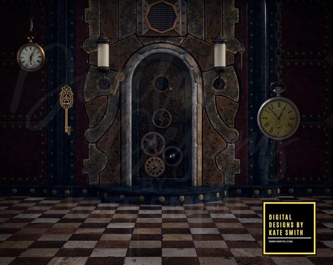 Steampunk Room Digital Backdrop / Background, High Resolution, Instant Download. CUOK, Buy 3 get 1 free.