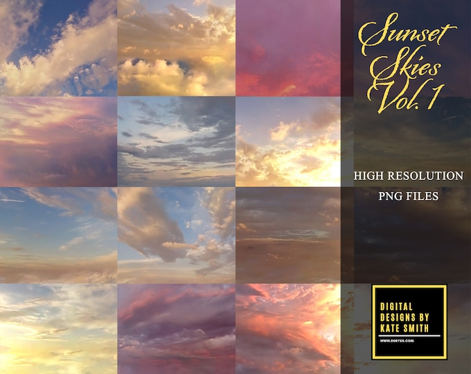 Sunset Skies Volume 1, Large Files, High Resolution, Instant Download, CUOK.
