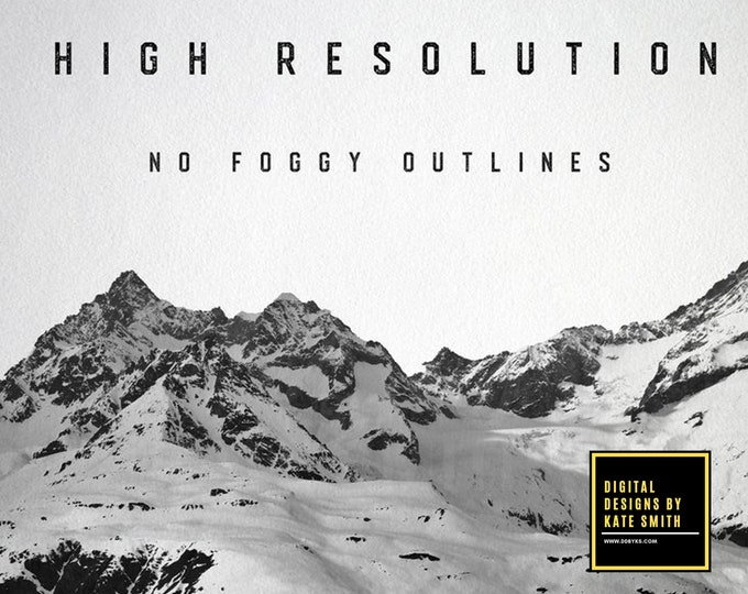 15 x High Resolution Mountain Design Brushes for Photoshop, High Resolution, Instant Download.