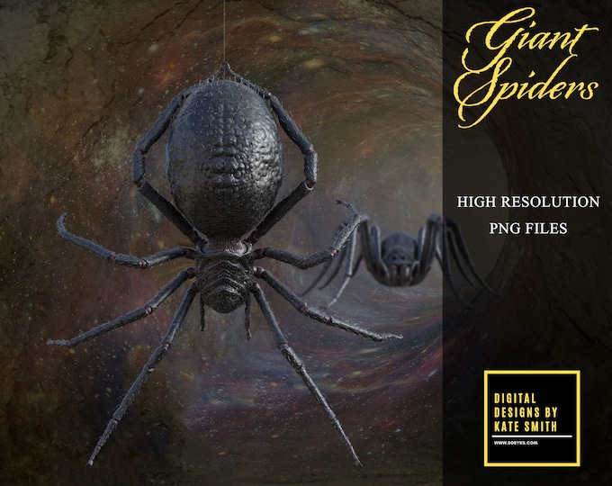 12 Giant Spider Overlays, Separate PNG Files, High Resolution, Instant Download, Buy 3 get 1 free, CUOK.