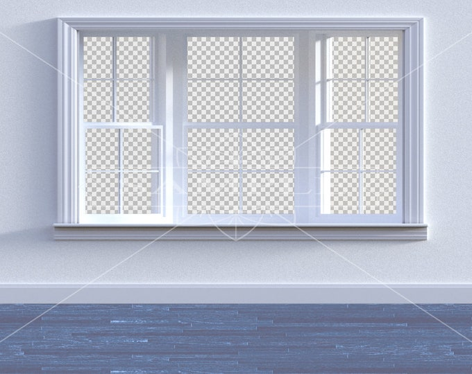 Empty Room Digital Backdrop / Background, PNG Files with Transparent Windows, High Resolution, Instant Download.
