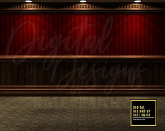 The Red Room Empty Room Digital Backdrop / Background, Commercial Use for Pre made Backgrounds, High Resolution.