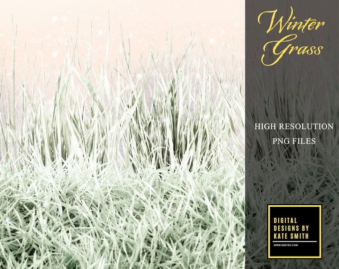 Winter Grass Overlays, Separate PNG Files, High Resolution, Instant Download, CUOK.