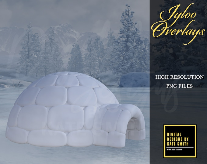 Igloo Overlays, Separate PNG Files, High Resolution, Instant Download, Buy 3 get 1 free, CUOK.