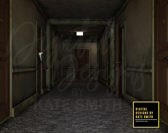 The Haunted Corridor Digital Backdrop / Background, High Resolution, Instant Download, Buy 3 get 1 free, CUOK.