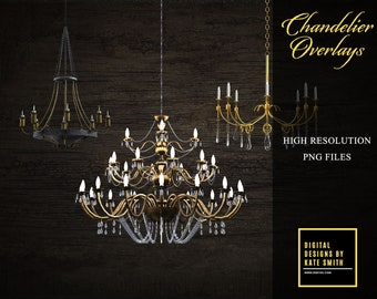 Chandelier Overlays, Separate PNG Files, High Resolution, Instant Download, CUOK.