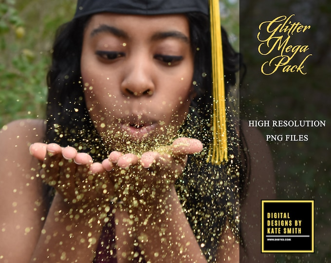 Buy 3 get one free. MEGA Glitter Pack, 80 x Separate PNG Files, High Resolution, Instant Download.
