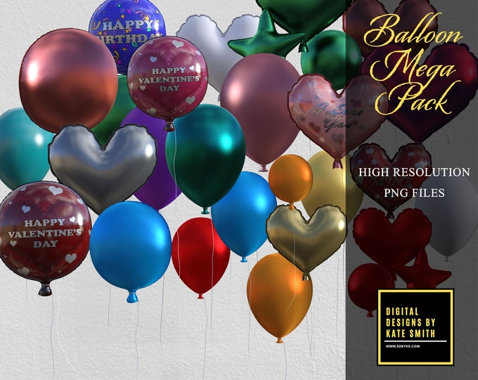 Mega Pack! 65 Assorted Balloon Overlays, Separate PNG Files, High Resolution, Instant Download, CUOK.