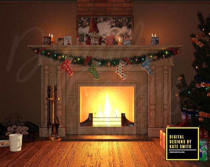 Waiting For Santa Digital Backdrop / Background, High Resolution, Instant Download, Buy 3 get 1 free, CUOK.