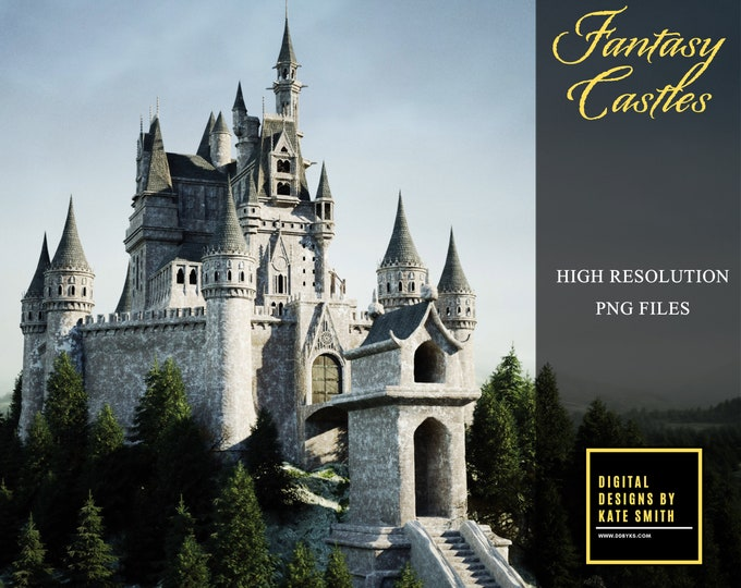 Castle Pack Overlays, Separate PNG Files, High Resolution, Instant Download. CUOK, Buy 3 get 1 free.