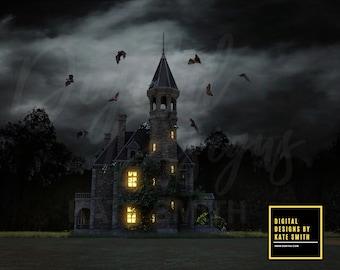 Haunted Mansion Digital Backdrop / Background, High Resolution, Instant Download, Buy 3 get 1 free, CUOK.