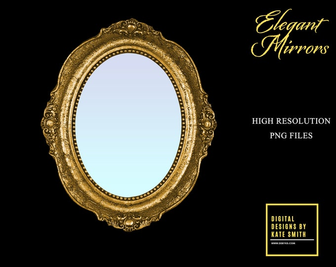 Vintage Mirror Overlays, High Resolution, Separate PNG Files, Instant Download, CUOK, Buy 3 get 1 free.